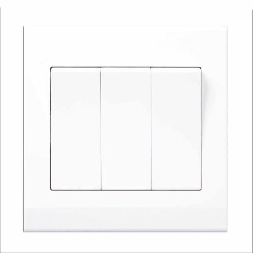 Simplicity White Screwless Rocker Light Switch 3 Gang 1 Way Pulse/Retractive 07120